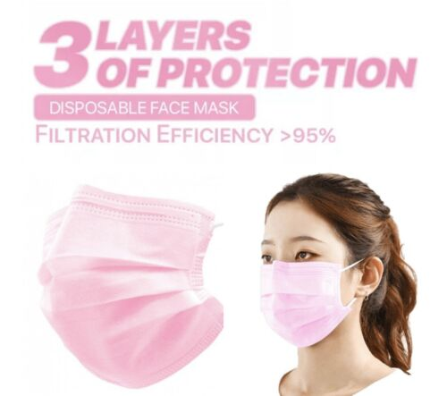 100 PCS Pink Face Mask Mouth & Nose Protector Respirator Masks USA Seller