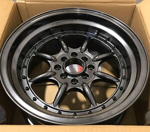 XXR Wheel 002 Chromium Black Deep Dish Step Lip 15x8 ET +0 Rim 4x100 4x114.3