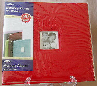 Generations Scrapbook Memory Album 12x12 Faux Red Leather 20 Page Screw Post