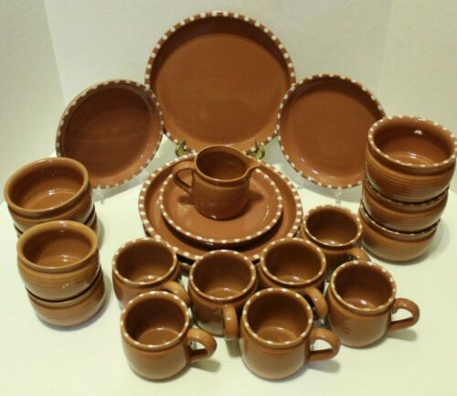 21 Pc Block Gresval Portugal Rhythm Terracotta Handpainted Dishes Set Plates