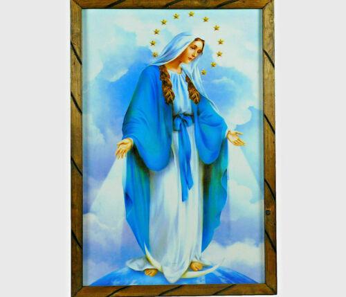 "Virgen La Milagrosa Imagen Cuadro Madera 13""x18"" Miraculous Virgin Picture Frame"