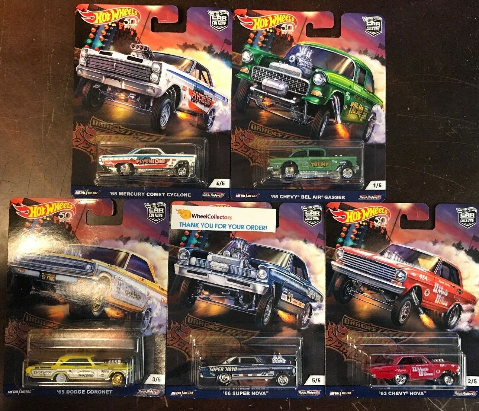 Drag Strip 5 Car Set * 2018 Hot Wheels Drag Strip Car Culture F Case Set