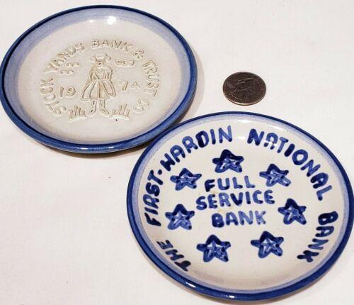 Set of 2 MA Hadley Coasters First Hardin Nat Bank Stock Yards Bank & Trust 1974