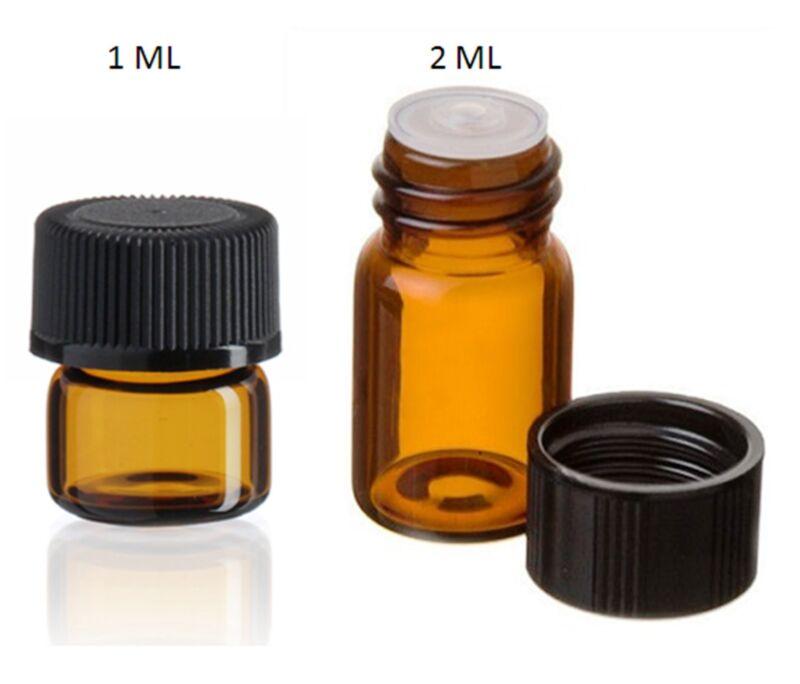Essential Oil Amber Glass Vials w/orifice 1ml & 2ml size! Sample dram bottles!