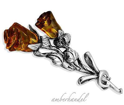 Zwei Rosen Rose Bernsteinbrosche Brosche mit Bernstein Nadel Silber  Amber 925