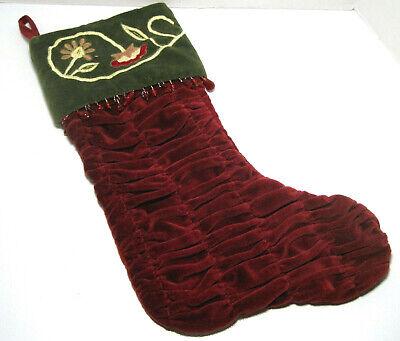 Large CHRISTMAS STOCKING Burgundy Embroidered Velvet Ruched Beaded, by CBK Embroidered Velvet Stockings