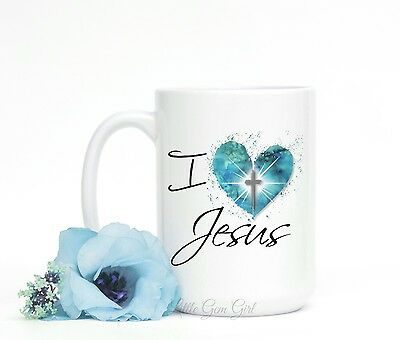 I love Jesus Blue Heart Coffee Mug Christian Inspirational Coffee Cup Gifts