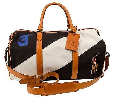 Polo Ralph Lauren Men's Canvas Black Watch Leather Duffel Bag