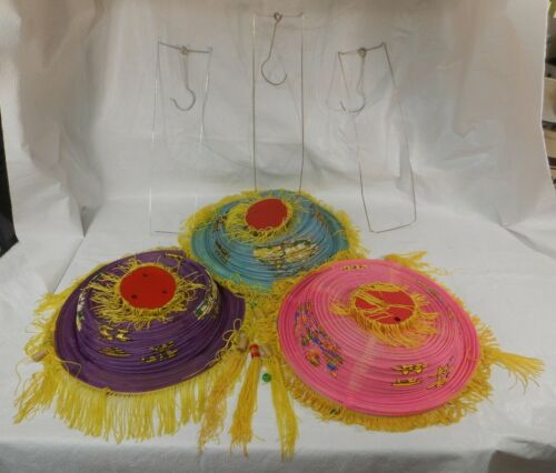 3 Vintage Japanese Lanterns with Fringe and Beads: Pink, Purple, Aqua