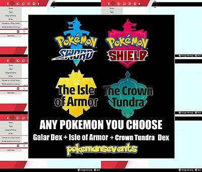 Pokemon Sword/Shield - ANY Pokemon You Want Galar + Isle of Armor + Crown Tundra