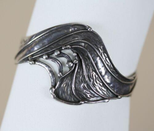 Vintage Signed Carrie Groves Sterling Silver Brutalist Modernist Cuff Bracelet
