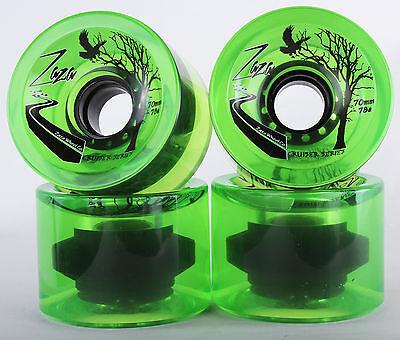 70mm 78a Gel Soft Longboard Wheels (Clear Green)