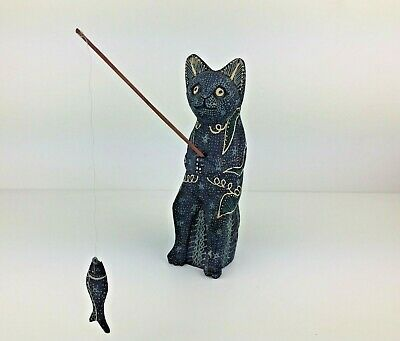 Wood Cat Fishing Sculpture Handmade Painted Abstract Indonesia Shelf covid 19 (Cat Fishing Sculpture coronavirus)