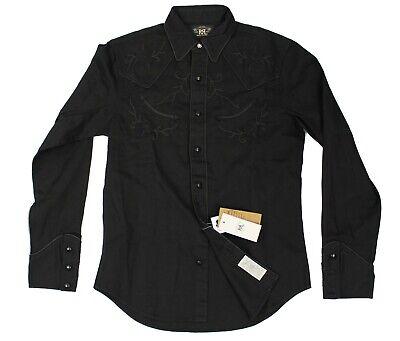 $395 Double Ralph Lauren RRL Mens Black Saddle Embroidered Motif Western - Western Motif