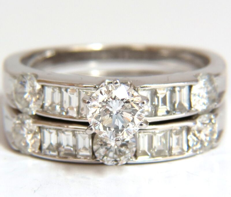 █$9000 1.50CT NATURAL DIAMONDS BAGUETTE & ROUNDS MATCHING ENGAGEMENT + BAND RING