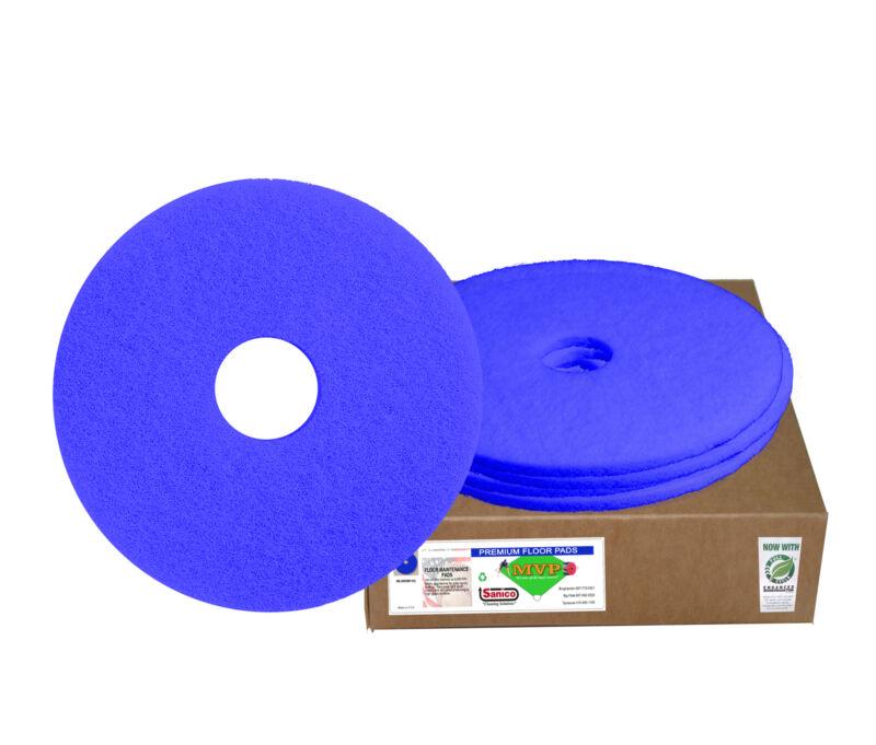 "Case of 5 Sanico MVP Warm Up 20"" Blue Scrubbing Floor Pad Light Cleaning"