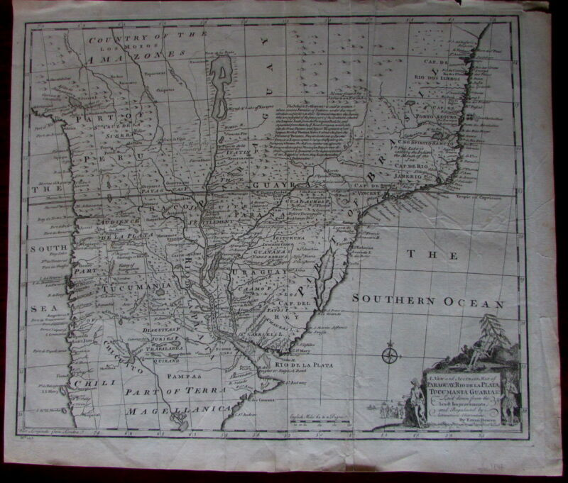 South America Argentina Uruguay Brazil 1747 Bowen native cartouche folio map