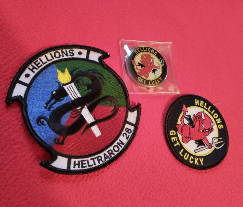 US Navy Heltraron 28 Hellions Get Lucky Challenge Coin + 2 embroidered patches