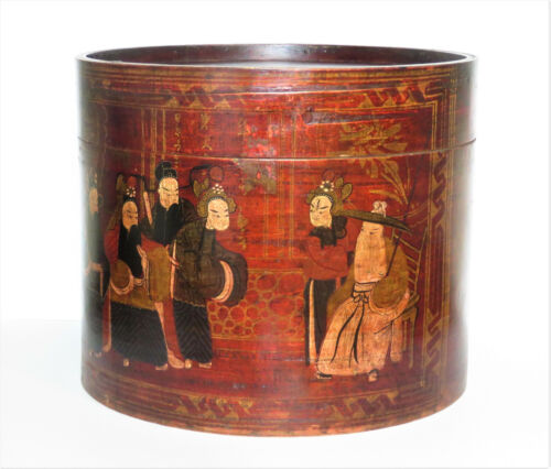 Antique Chinese Round Wooden Box w/ Hand Painted Scene