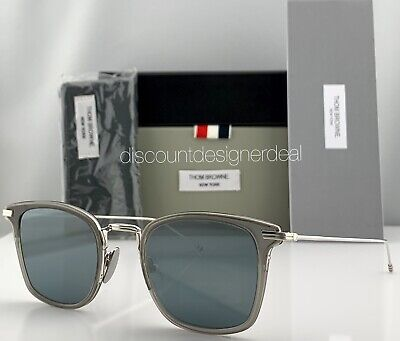 Thom Browne Clubmaster Sunglasses Gray Frame Silver Mirror Lens TBS905-49-03 NEW