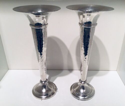 Quality Pair Large Solid Sterling Silver Trumpet Vases, Walker & Hall, 1912
