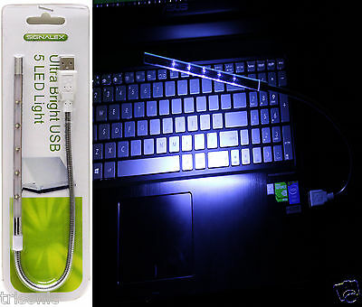 New Flexible USB 5 LED Ultra Bright White Light for PC Laptop Keyboard Reading for sale  Shipping to India