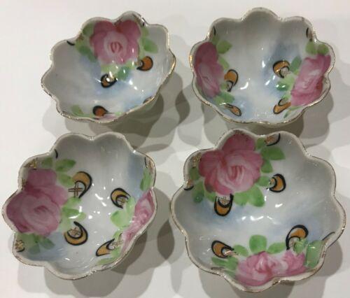 Japan Vintage China/Porcelain Nut Cups/Bowls Footed Floral/Roses Gold Rims
