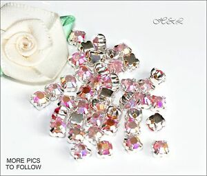 40 Crystal AB ss16 Rose Montees 4 hole Sew On prong setting Glass stone 16ss 4mm