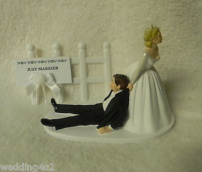 Bride Dragging Groom - WEDDING White Pickett Fence Bride Dragging Groom ~Just Married Sign~ Cake Topper