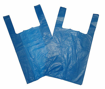 1000 Strong  Blue 11''x17''x21'' Vest T-Shirt Carrier Bags 18mu x 10 Pack of 100