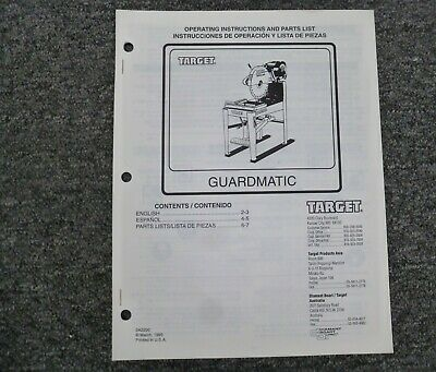 Target C6752 C6761 Guardmatic Masonry Saw Parts Catalog Owner Operator Manual