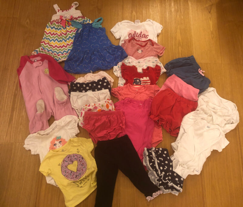 Large Lot of 25 girl clothes Size 18 months ~ Dress ~ Bubble Shorts ~t-shirts ~