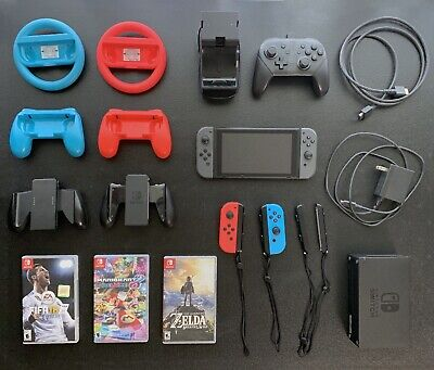 Nintendo Switch 32GB(+128GB) HUGE BUNDLE w/ Extra Controllers, Games, And More