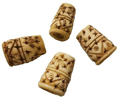 Large 28mm Genuine Bone Hand-Carved Tribal Ethnic Cone Shape Vintage Craft Beads