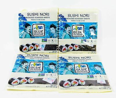 4 Blue Dragon SUSHI NORI Roasted Seaweed Sheets .77 oz 10 sheets 03/13/2021 Blue Dragon Sushi