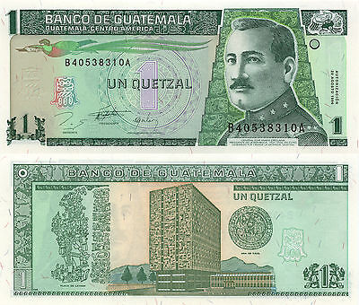 Guatemala P97a,1 Quetzal, Quetzal bird, Gen Orellana / Bank Plate of Leyden UNC