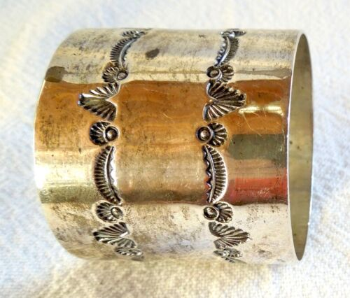 Navajo NAPKIN RING Sterling Silver Vintage *39.9 grams* Signed M* FREE SHIPPING