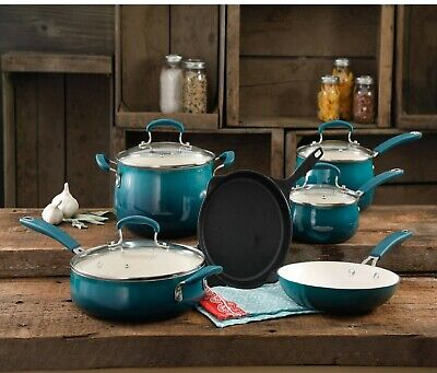 The Pioneer Woman Classic Belly Ceramic Non-Stick 10 Piece Cookware Set (Ocean T