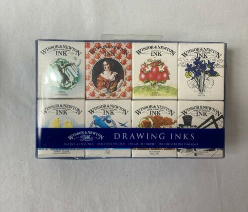 NIB Writing/Drawing Ink Set of 8 WINSOR & NEWTON Henry Set Made in England Craft