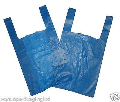1000 STRONG BLUE PLAIN VEST CARRIER BAGS LARGE SIZE 11'' x 17'' x 21''  14mu