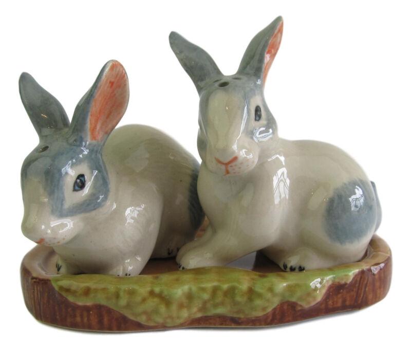 Rabbit Blue-Grey & White Base Ceramic Salt & Pepper Shakers