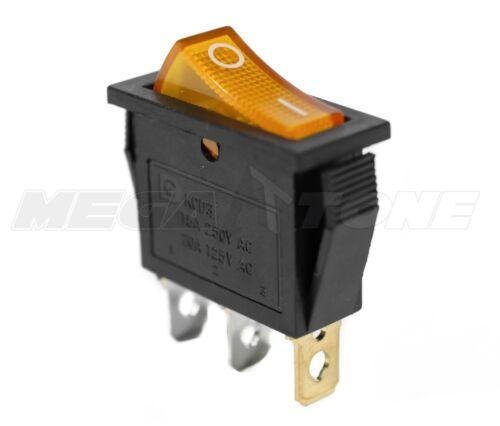 (1 PC) SPST ON/OFF Rocker Switch w/ AMBER Neon Lamp. 20A 125VAC... USA SELLER!