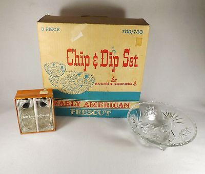LOT OF ANCHOR HOCKING EARLY AMERICAN PRESCUT-CHIP/DIP SALT &PEPPER IN BOX & BOWL