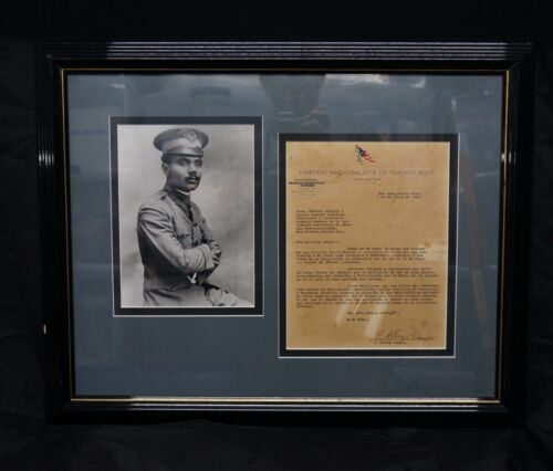 Pedro Albizu Campos Autograph Letter Signed To P.R.National Board 1931 Framed