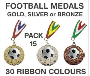 PACK-OF-15-0-86p-each-Football-Medals-Budget-and-Ribbon-Metal-50mm-GMM7050-MR1
