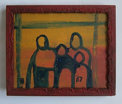 """A MODERNIST OIL PAINTING OF """"A FAMILY GROUP"""" - SIGNED"""