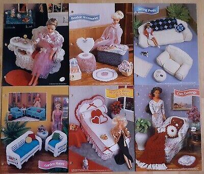 6 Crochet Patterns: Barbie Doll Furniture, bedroom, living, bath, casual