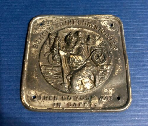 """Antique Driving Auto Saint Christopher Medal Car Dashboard Plate """"Go In Safety"""""""