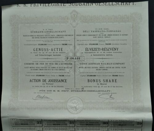 Austria - South Austrian Railway - Lombardo / Venetian - 1891 - Bonus share