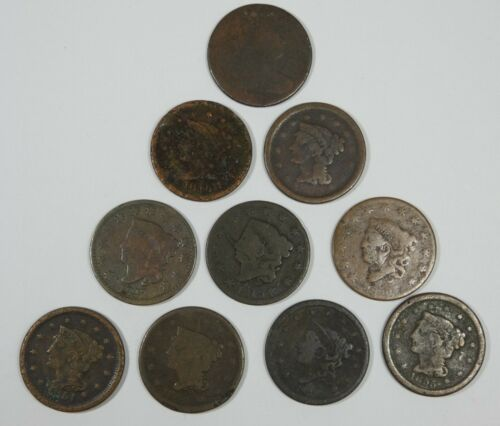 LOT x 10 Different Date LARGE Cents Cull or Better 1800 -  1855